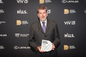 Mr Con Cummings accepted Seeley International's Good Design Australia Award on behalf of Mr Frank Seeley.