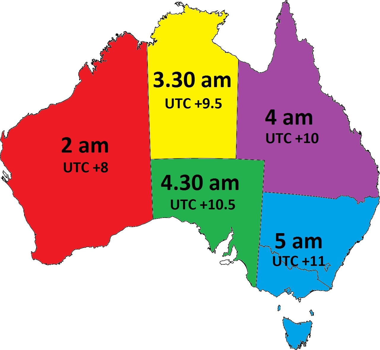 Time change date in Australia