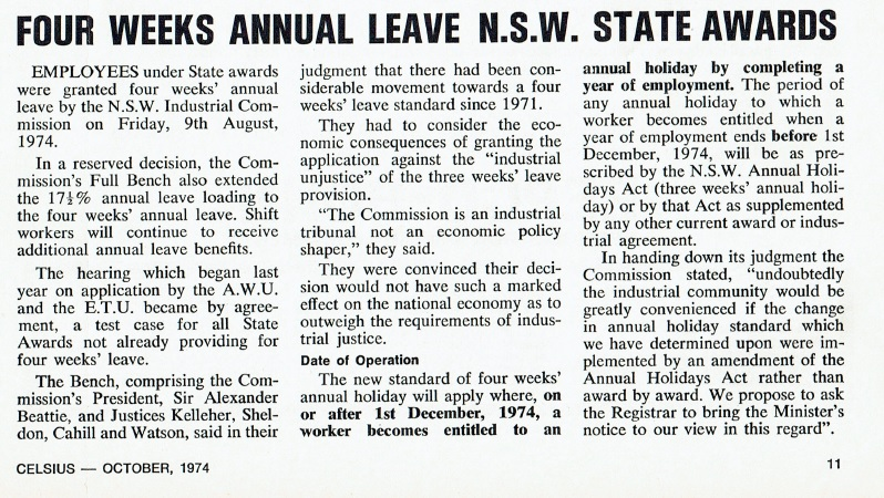 Four Weeks Annual Leave NSW State Awards