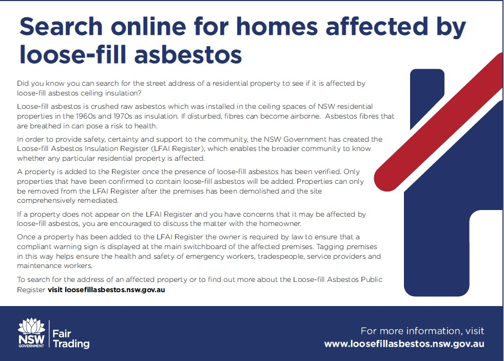 NSW Fair Trading's resources on loose fill asbestos - RACCA